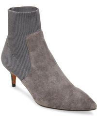 Steven by Steve Madden Kagan Kitten Heel Sock Booties - Gray