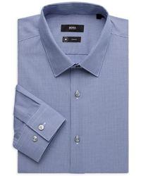 BOSS by HUGO BOSS Isko Slim-fit Houndstooth Dress Shirt - Blue