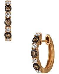 Le Vian Chocolatier® 14k Strawberry Gold®, Chocolate Diamonds® & Vanilla Diamonds® Huggie Hoop Earrings - Metallic