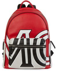 MCM Logo Leather Backpack - Multicolour