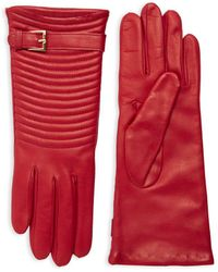 Portolano Quilted Leather Gloves - Red