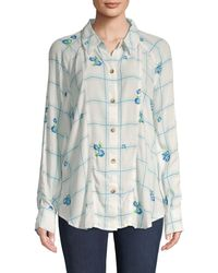 Free People Windowpane Check Floral Shirt - Multicolor