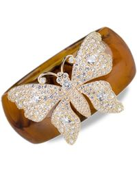 CZ by Kenneth Jay Lane 18k Goldplated, Cubic Zirconia & Resin Butterfly Bangle - Multicolour