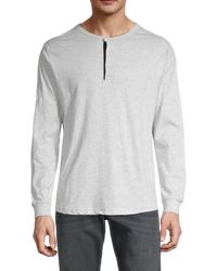 Unsimply Stitched Long-sleeve Cotton Henley - White