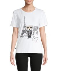 Karl Lagerfeld Women's Karl Doll Graphic Print T-shirt - White - Size Xl