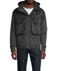 Karl Lagerfeld Men's Drawstring Hooded Jacket - Black - Size L