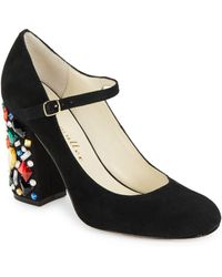 Bettye Muller - Brilliant Suede Mary Jane Court Shoes - Lyst