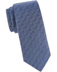 Eton Men's Patterned Silk Tie - Blue