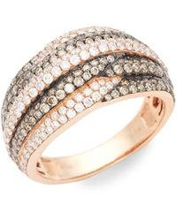 Le Vian Chocolatier 14k Strawberry Gold, Chocolate Diamond & Vanilla Diamond Band Ring - Metallic