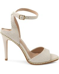 BCBGeneration Jaxina Studded Ankle-strap Peep-toe Leather Sandals - White
