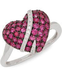 Effy 14k White Gold & Diamond Pendant Necklace - Multicolor