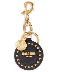 Moschino Studded Leather Keychain - Black