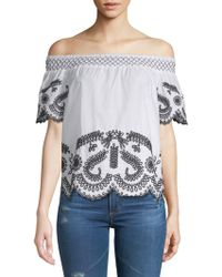 Saks Fifth Avenue - Embroidered Off-the-shoulder Top - Lyst