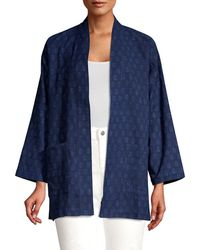 Eileen Fisher Printed Chambray Kimono Jacket - Blue