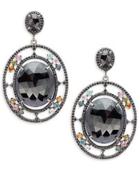 Bavna - Black Spinel, Multicolored Tourmaline And Sterling Silver Drop Earrings - Lyst