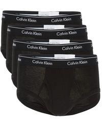 Calvin Klein Men's 4-pack Logo Cotton Briefs - Black - Size S