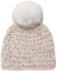 Surell Star-knit Faux Fur Pom-pom Beanie - Gray