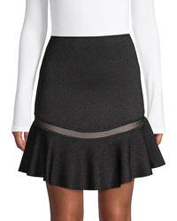 Alice + Olivia Lisbeth Knit Ruffle Skirt - Black