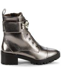 Karl Lagerfeld Women's Prim Embellished Faux Leather Booties - Silver - Size 8.5 - Metallic