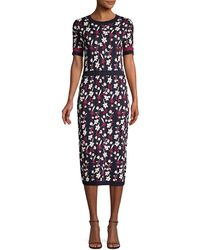 Shoshanna Evan Floral Knit Midi Dress - Blue