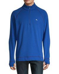 Tommy Bahama Men's Palm Harbor Quater-zip Sweatshirt - Blue - Size L