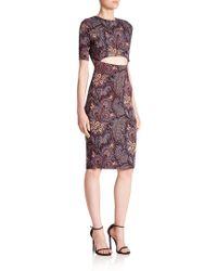 SUNO Printed Cutout Dress - Purple