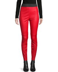 Dolce & Gabbana Leather Skinny Trousers - Red