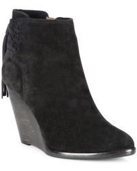 Frye - Cece Tassel Lace Suede Wedge Booties - Lyst