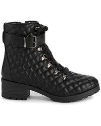 Anne Klein Akleandra Quilted Combat Boots - Black