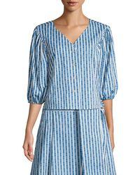 Tory Burch Women's Gemini Link Striped Blouse - Gemini Link Bloom Stripe - Size 8 - Blue