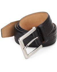 Saks Fifth Avenue Embossed Leather Belt - Metallic
