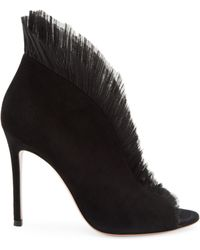 Gianvito Rossi Ginevra Tulle & Suede Ankle Boots - Pink