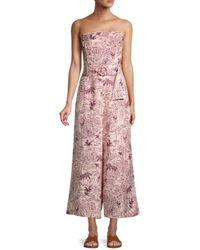 Astr Women's Kona Printed Linen-blend Jumpsuit - Blossom Tropical Print - Size Xs - Pink