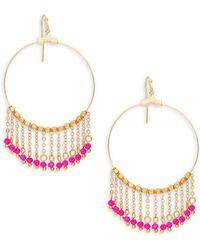 Panacea - Goldplated Pink Crystal Chain Tassel Hoop Earrings - Lyst