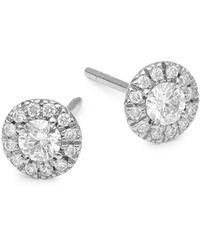 Nephora - Diamond And 14k White Gold Stud Earrings - Lyst