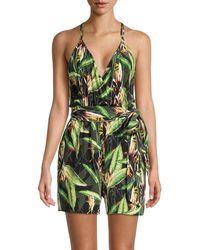 BCBGMAXAZRIA Tropical-print Tie-belt Romper - Green