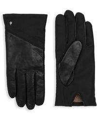 Roberto Cavalli Leather Panel Gloves - Black