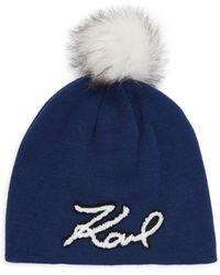 Karl Lagerfeld Karl Faux Fur Pom-pom Knit Beanie - Blue