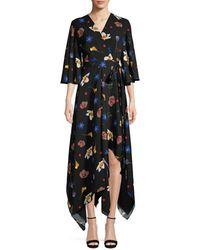 Solace London Women's Darlina Asymmetric Floral Dress - Space Floral - Size 2 - Black