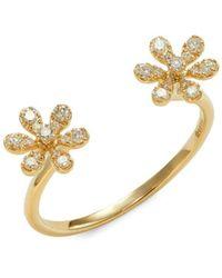 Saks Fifth Avenue 14k Yellow Gold & Diamond Open Flower Ring - Metallic