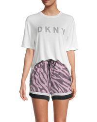 DKNY Women's 3-piece T-shirt, Boxers & Sleep Mask Pyjama Set - White Pink Combo - Size M - Multicolour