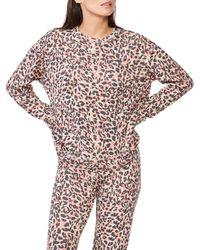 Monrow Women's Animal Print Sweatshirt - Orange - Size Xs
