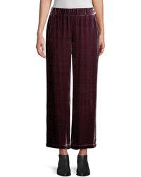 Eileen Fisher Women's Velvet Wide-leg Pants - Casis - Size S - Red
