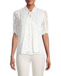 Calvin Klein Women's Mockneck Short-sleeve Top - Cream - Size Xl - White