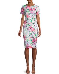 Alexia Admor Short-sleeve Floral Scuba Dress - White