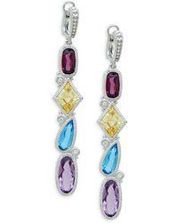 Judith Ripka Rio Sterling Silver Multi-stone Cascading Drop Earrings - Multicolor