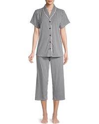 Jane And Bleecker 2-piece Striped Pyjama Set - Black