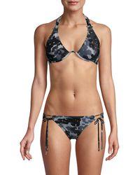 Robin Piccone Camouflage-print Halter Bikini Top - Grey