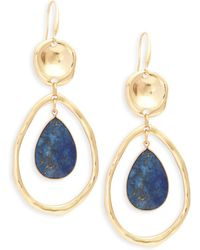 Ava & Aiden - Goldtone Lapis Cutout Drop Earrings - Lyst