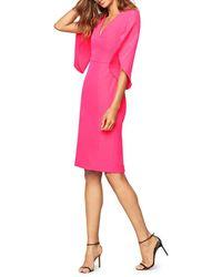 MILLY Jana Draped-sleeve Dress - Pink